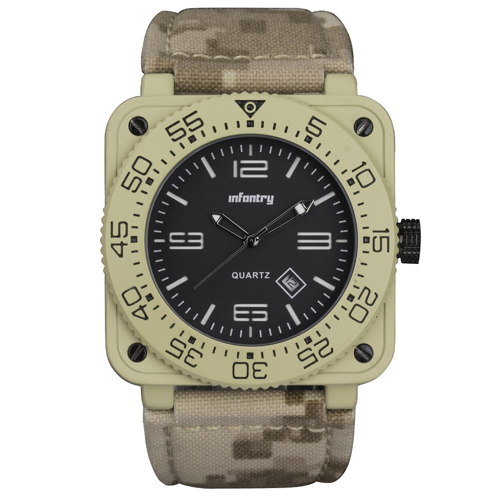 INFANTRY GENUINE CAMO NYLON Yellowish Waterproof Tactical Military Quartz Sport Watch