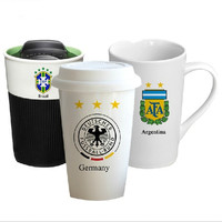360ML The 2014 Brazilian World Cup trophy he national flag with cover and heat insulation cup