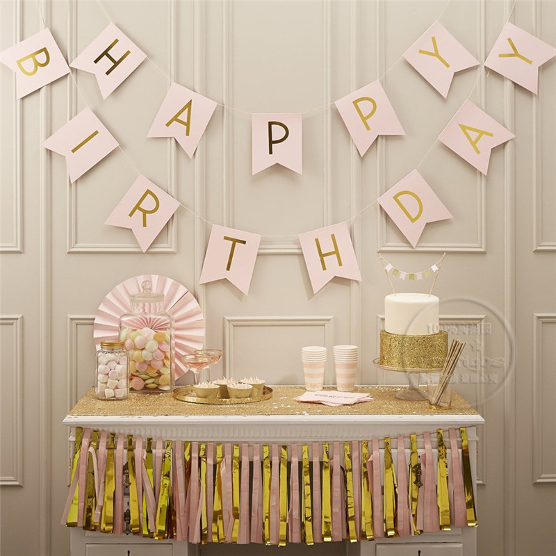 Hot Selling Pink with Gold Foil Letters Happy Birthday Banner for party <strong>decoration</strong>