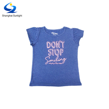 Low Price Short Sleeve Floral Printed Baby Girls Fancy T Shirt For Kids