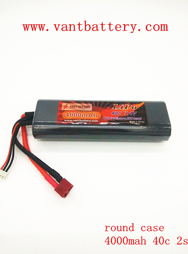 rc High end round case rc car lithium ion battery 7.4V li-polymer 4000mAh 40C LiPo rechargeable Battery pack