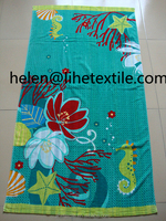 100% cotton yarn dyed velour printed beach towel