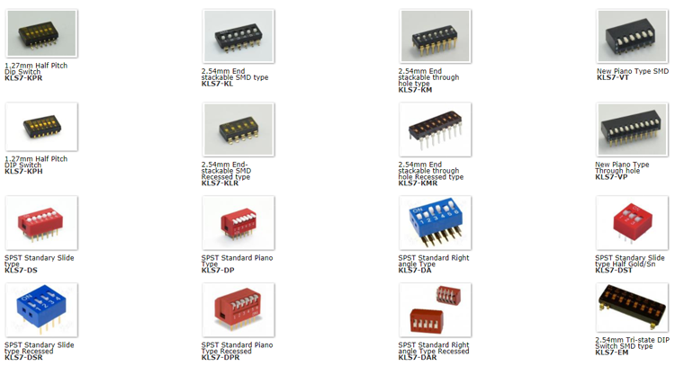 High quality 60 KLS brand 1 position 2.54mm sws001 sms-001 smd dip switch 1 pol.