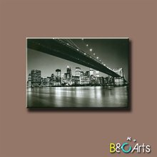 wholesale Top quality black and white famous Brooklyn bridge canvas printing