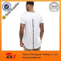 uk wholesale t shirt 100 cotton export quality plain curved hem t shirt mens longline scoop bottom t shirt with zip