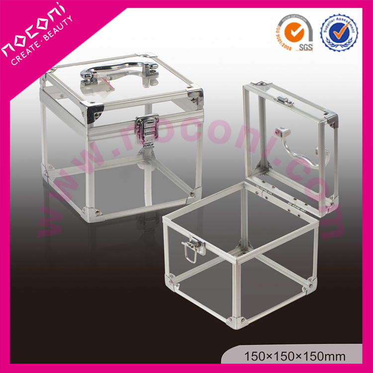 noconi professional acrylic material easy to use transparent cosmetic case with lock