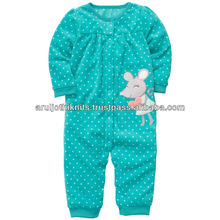BABY GIRLS PRINTED ROMPER SUIT WITH APPLIQUE EMBROIDERY