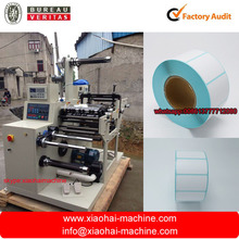 HAS VIDEO Full Automatic Trademark Slitting Rewinding Machine with turret rewinder