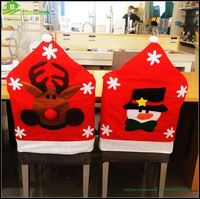 Fancy snowman,reindeer,santa claus design felt christmas chair cover for Xmas season gifts chair back covers BGSY1012
