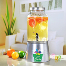 Big Capacity Drink Mason Glass Jar Water juiuce Beverage Dispenser With Galvanized Tap and Stand