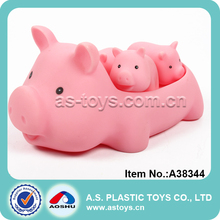 Lovely bath toy mini pink rubber pig toy for baby