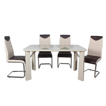 High gloss 6 seater tempered glass dining table set and chair