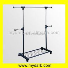 adjustable shelf bar hanging rail black coated clothing display mat towel stand flooring metal cloth rack
