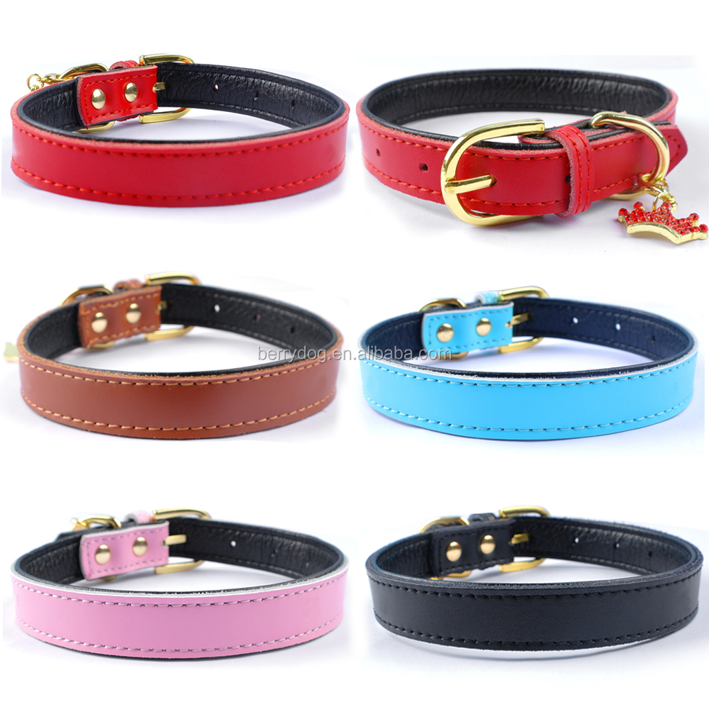 Factory Pet Supplier High Quality Plain Leather Dog Neck Collars With Match Color Rhinestone Crown Pendant