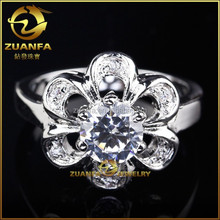 China wholesale new design for women flower shaped brass rings jewelry