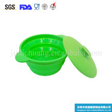 Various color Heat Resistant Foldable Round Shape Silicone Steamer With Lid