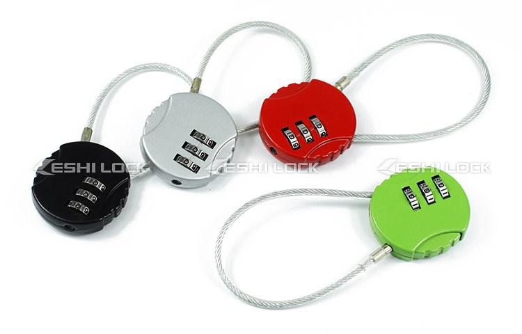 China Supplier Traveling Luggage Zinc Alloy Flexible Cable Lock with Combination