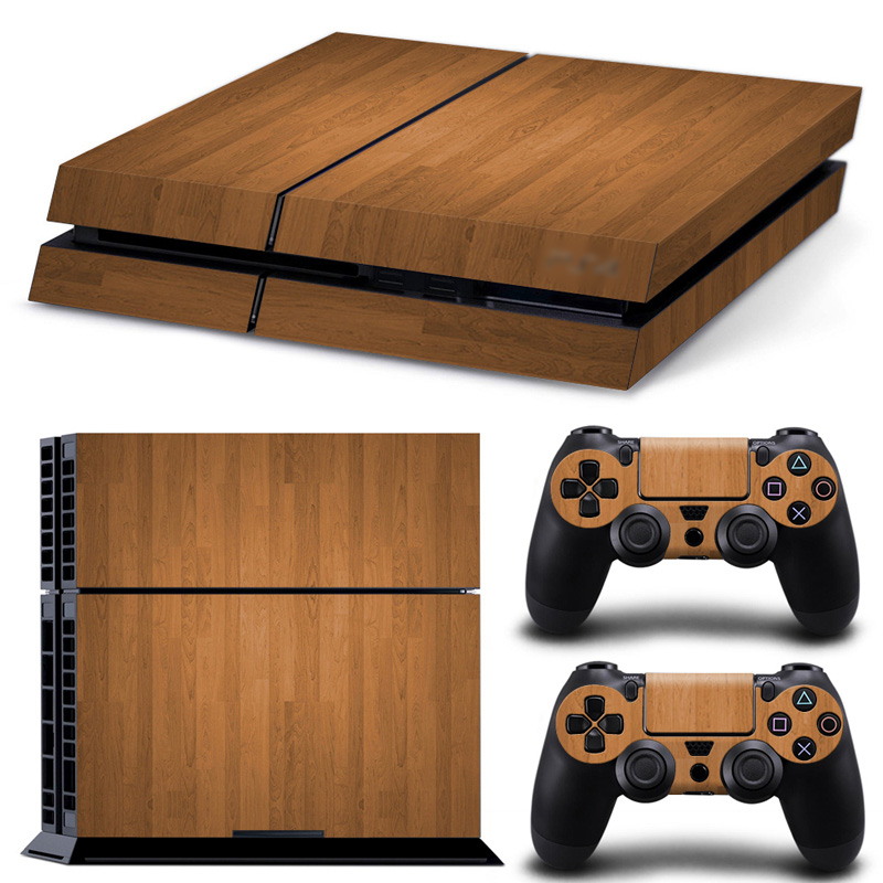 Wood Grain Vinyl Skin Sticker For PLAYSTATION 4 Console and Controller in STOCK
