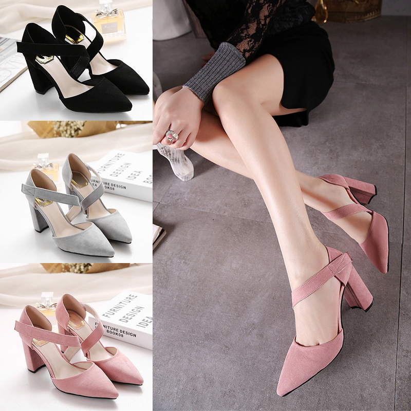 Hot Selling European Korean Japan Summer Spring Autumn Fashion Sandals Low Thick <strong>Heels</strong> Lady Pointed Toe Suede Shoes Pumps
