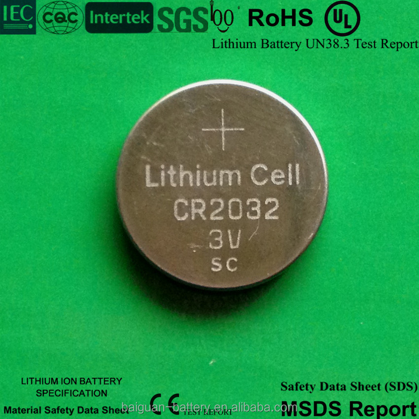 Lithium li-ion button cell battery cr2032 3v 210mah cr2016 cr2025 sc battery