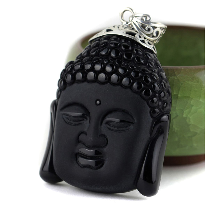 Large manichaeist 925 pure silver necklace natural obsidian necklace buddha head pendant