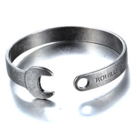 American Vintage Motorcycle Jewelry Stainless Steel Wrench Shape Mens Bracelet Cuff