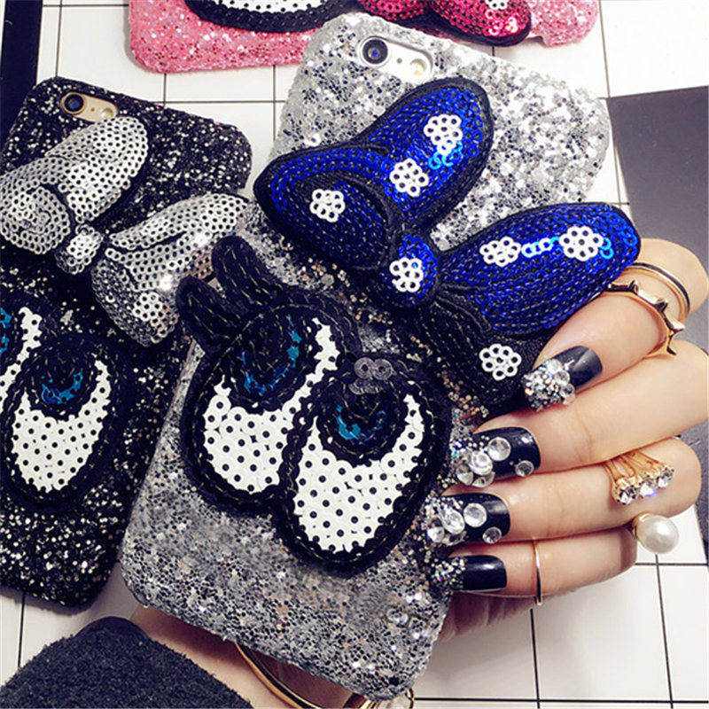 2017 handmade DIY cover For iPhone 6 6S 7 Plus Luxury Glitter Girl's Fashion Bling Cute cartoon bowknot Big eye phone case Back