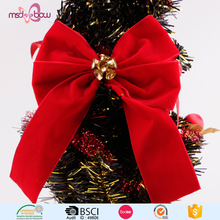 Red Velvet Handmade Pre-tied Ribbon Bow for Christmas Tree Bow