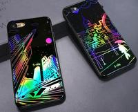 2017 hot selling new designed glitter shining for iphone 7 bling case,City Rainy Night Building mobile phone Back Cover Case