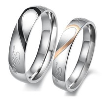 Fashion Jewelry Love Half Heart Couple Ring Wedding Rings