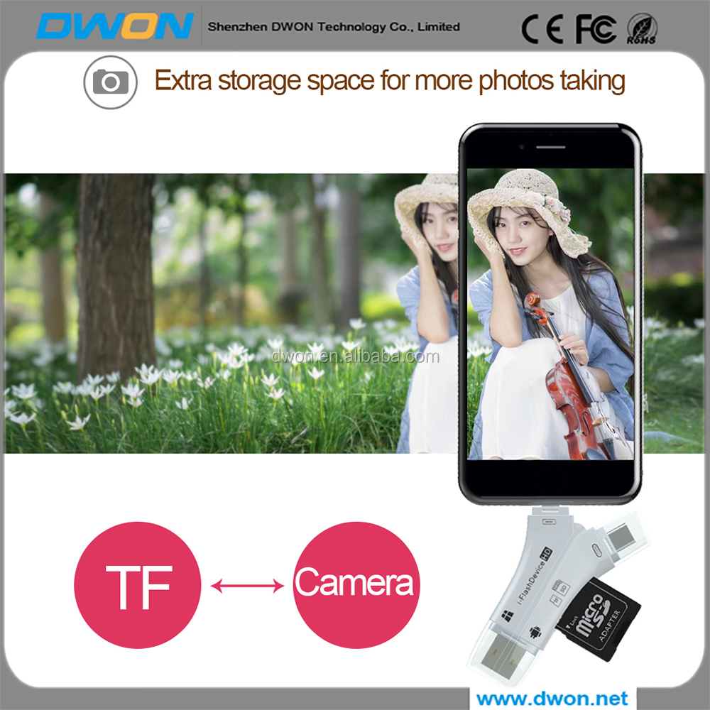 Read& write speed a to USB 3.0 camera card reader for iphone otg flash drive iflash drive for iphone