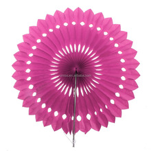 Paper Flowers & Pinwheels rose red Foil tissue Paper hand Fans wall hanging wedding/ party/Christmas decoration flower