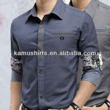 Wholesale denim slim fit shirt for man fashion trimmed man shirts