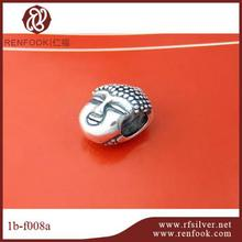 RenFook factory direct sale 925 sterling silver antique silver budha beads large hole beads