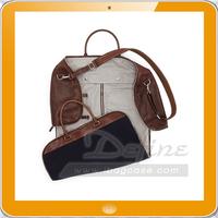 Leather Flannel Garment Duffel Bag