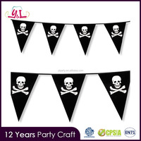 6m Classic Pirate Party Skull Crossbones Pennant Flag Banner Bunting Decoration