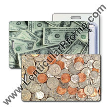 Lenticular 3D Promotional Bulk Luggage Tag with United States of America USA Money, Currency, Dollars and Coins