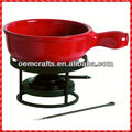 Superior Flame Red Ceramic Cheese Fondue Set