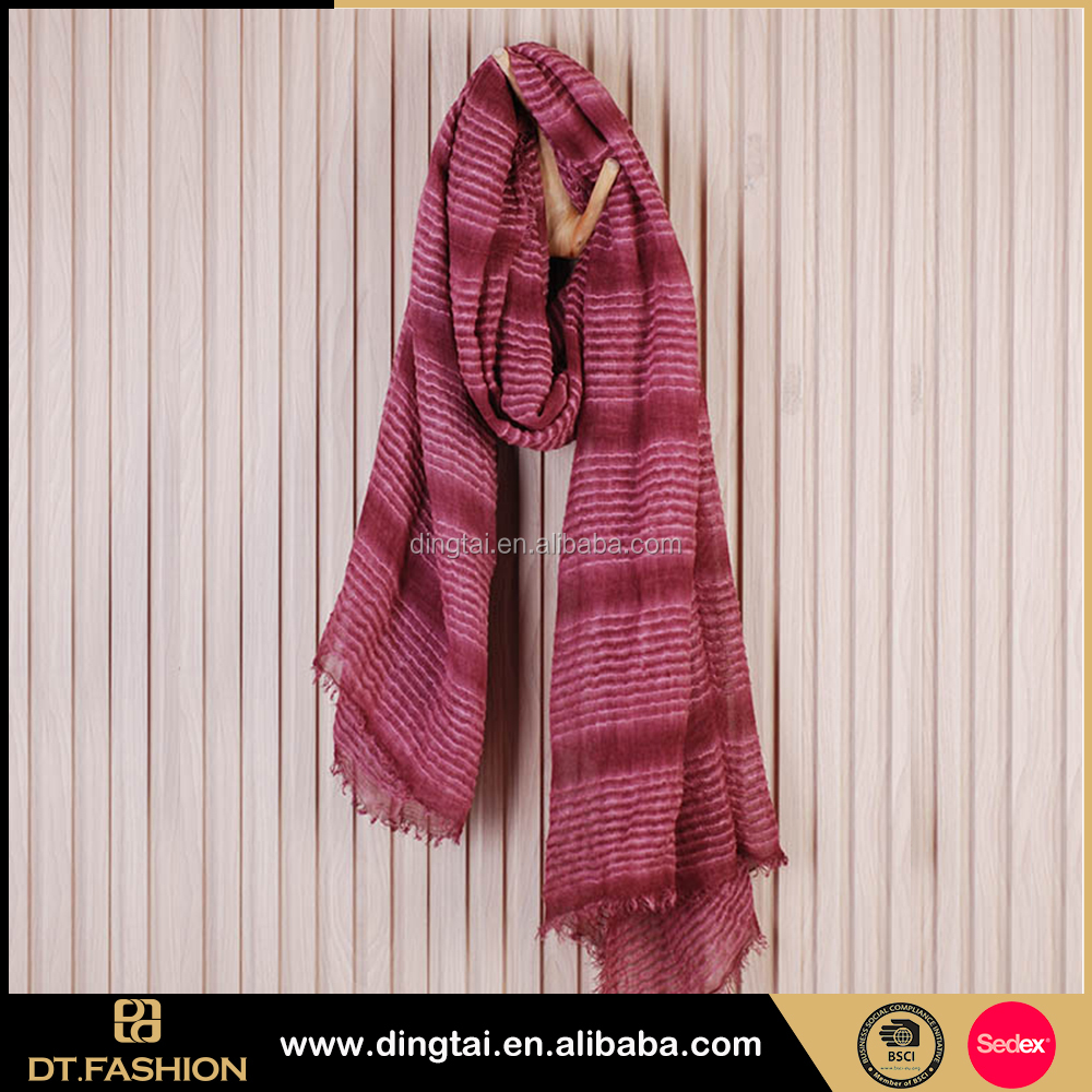 Stripe double color printing cotton polyester scarf