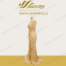 Split round neck golded color A line floor length gorgeous dress lace with sequins