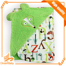 Cute Baby Blanket Embroidered Stylish Green Letters Double Layer Bath Towel Swaddle Blanket