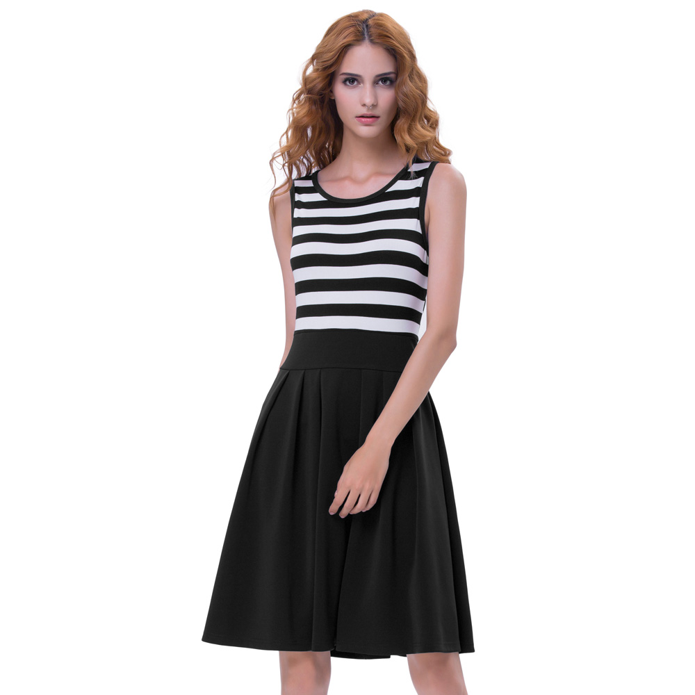 Belle Poque Women Retro Vintage Black Style Stripe Pattern Sleeveless Crew Neck A-Line Summer Dress BP000312-1
