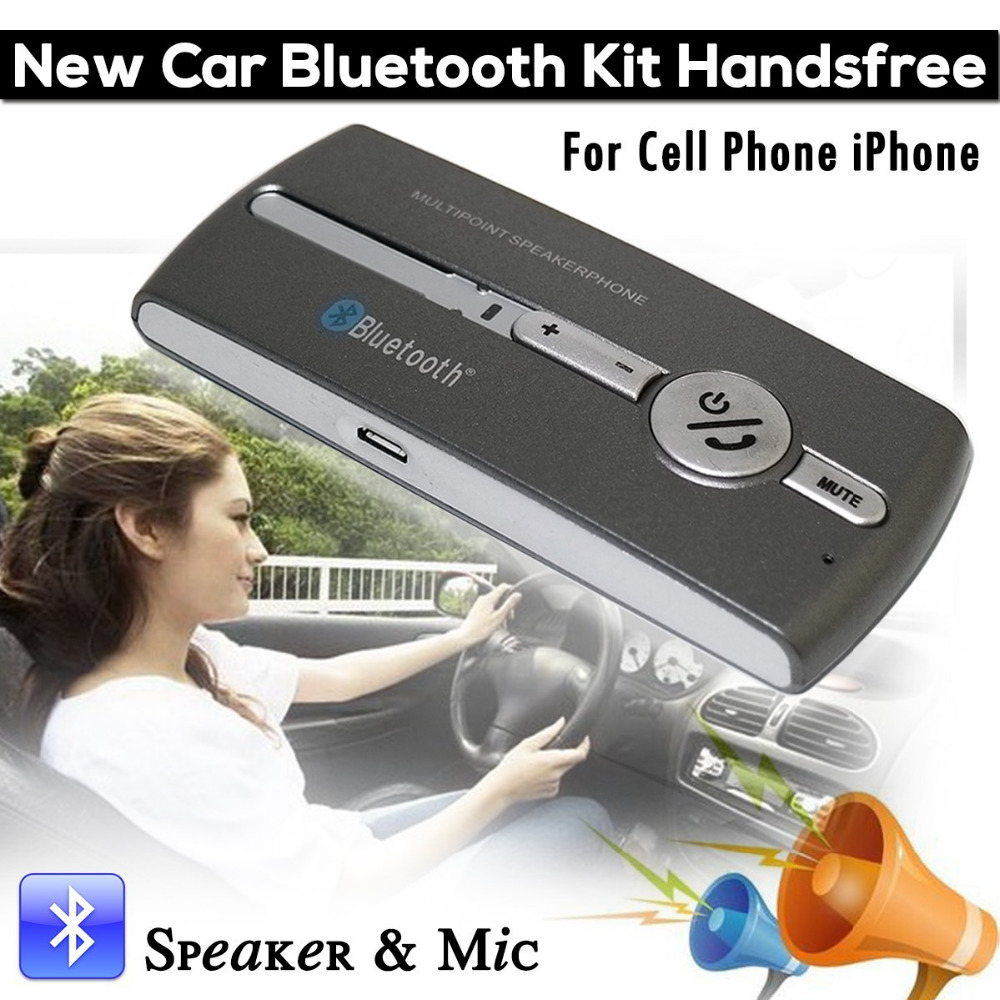 New Bluetooth Car Kit Handsfree Speakerphone Speaker & Mic For iPhone <strong>Cell</strong> <strong>Phone</strong>