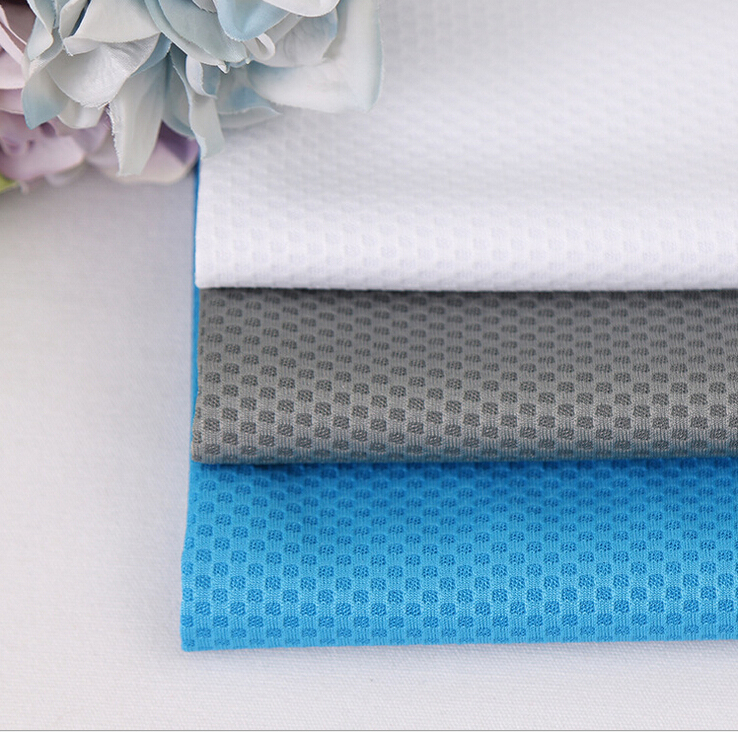100% Polyester Honeycomb-shaped Jacquard Mesh Fabric in Multi color for Sportswear Clothing