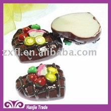 25mm delicious heart chocolate cake flat back resin food cabochon ornament for decoration