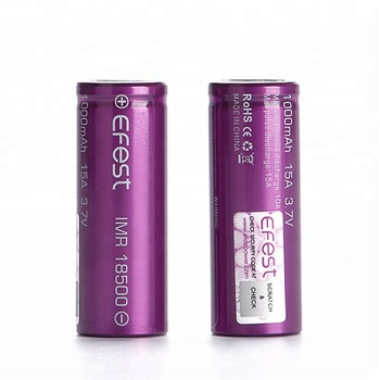 Lithium Ion 18500 Cylindrical Battery Efest 18500 1000mah Rechargeable Battery