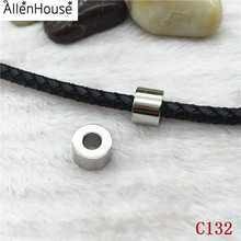 Custom Logo Silver Tone Cylinder round hole 4mm 316 Stainless Steel Spacer Beads fit leather rope
