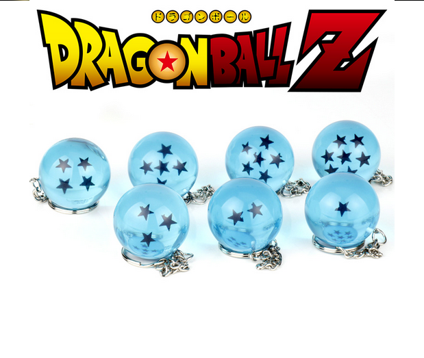 7 Style Anime Cartoon Dragon Ball Z Keychain DBZ Cosplay Yellow Crystal Balls 1-7 Stars PVC Figure Toys Key Chain Key Ring