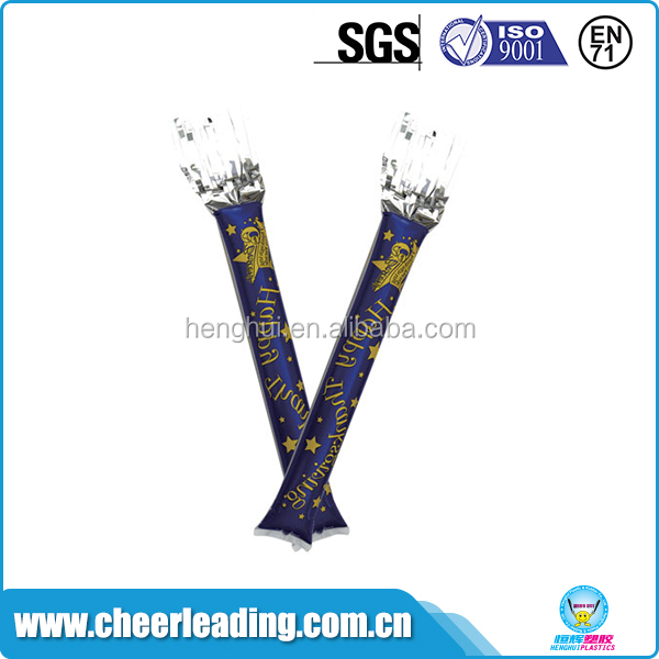 Promotional pe cheering pom bang inflatable clap stick balloon