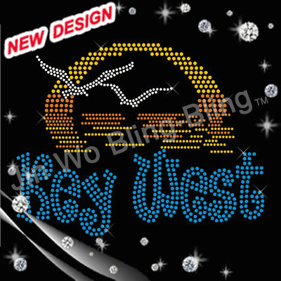 Key west Beach girl letters rhinestone bulk wholesale iron on transfers